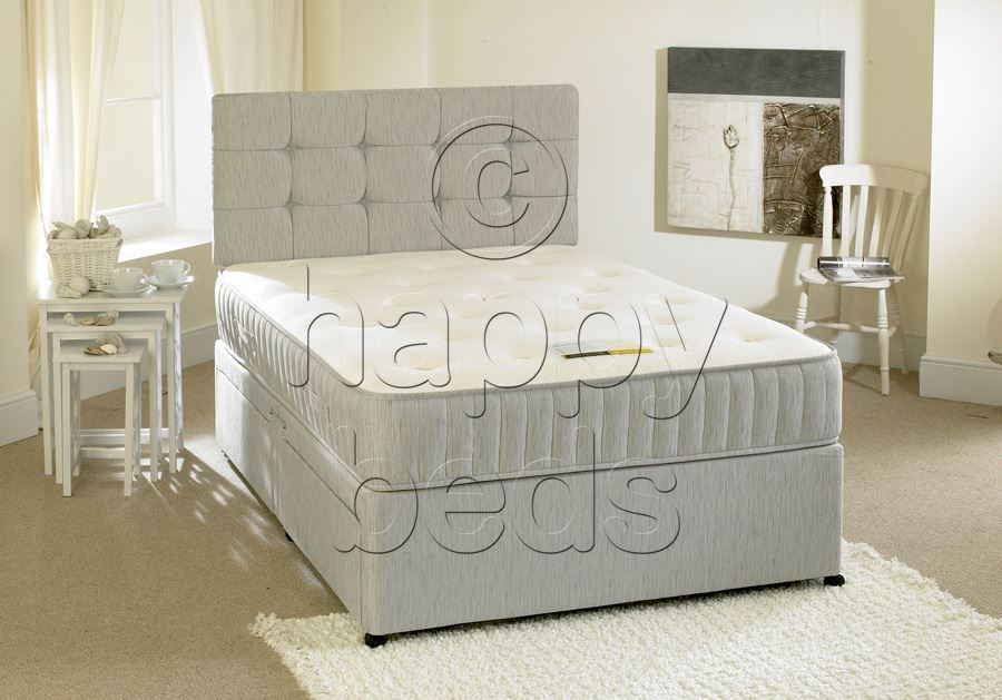 Beds chelsea 5ft king size divan bed with luxurious memory for Memory foam double divan bed sale