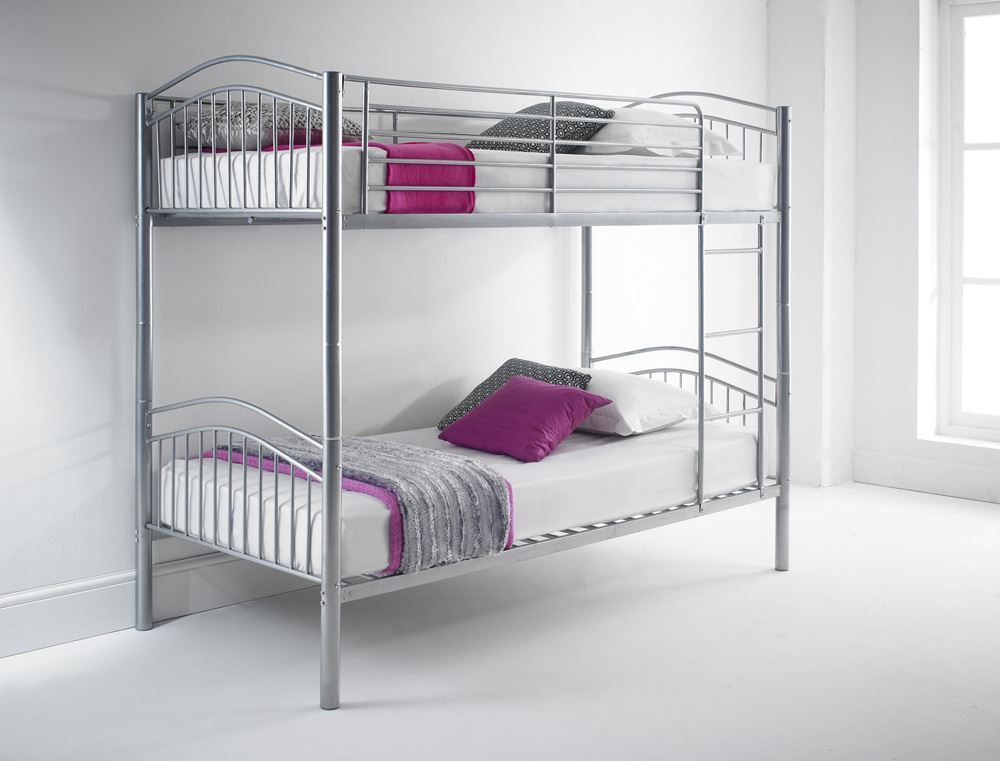 Happy beds capri quality metal bunk bed 3ft single 2x for Good quality single beds