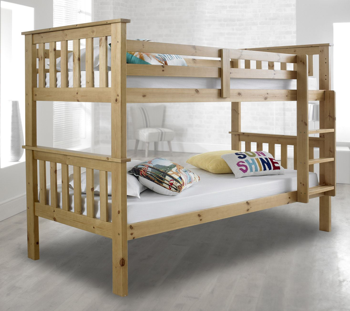 Happy beds atlantis wooden bunk bed 3ft single solid pine for Single bunk bed