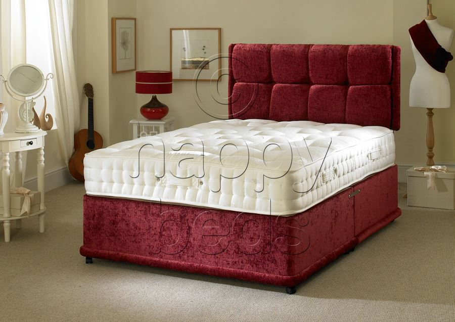 Happy beds 4ft small double divan bed headboard pocket for Double divan bed with four drawers
