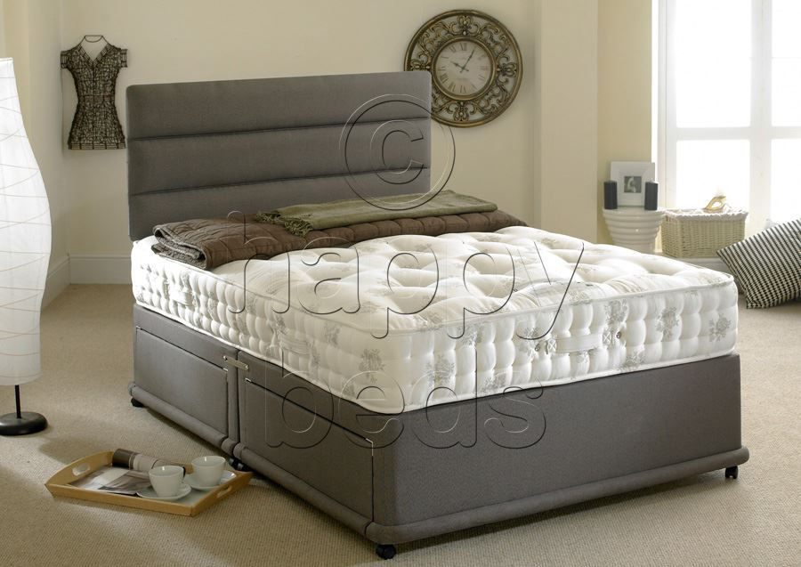 Happy Beds 3ft Single Divan Bed Set Organic 1400 Pocket Sprung Mattress Drawers Ebay