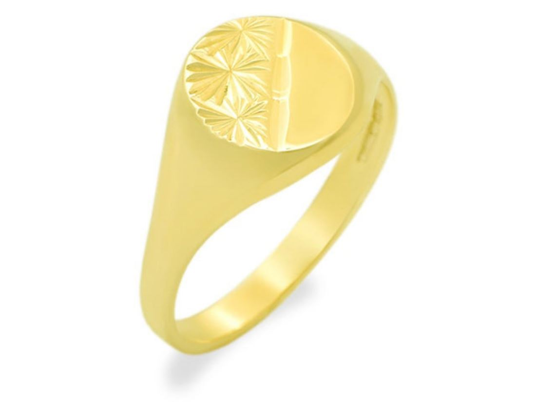 F Hinds Womens Jewellery 9ct Gold Oval Ladies Signet Ring