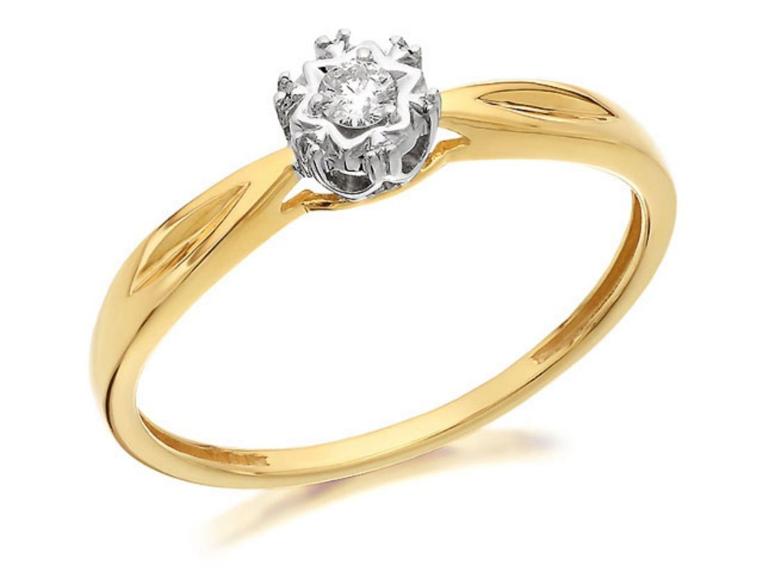 F Hinds Womens Jewellery 9ct Yellow Gold Diamond Solitaire Engagement Ring