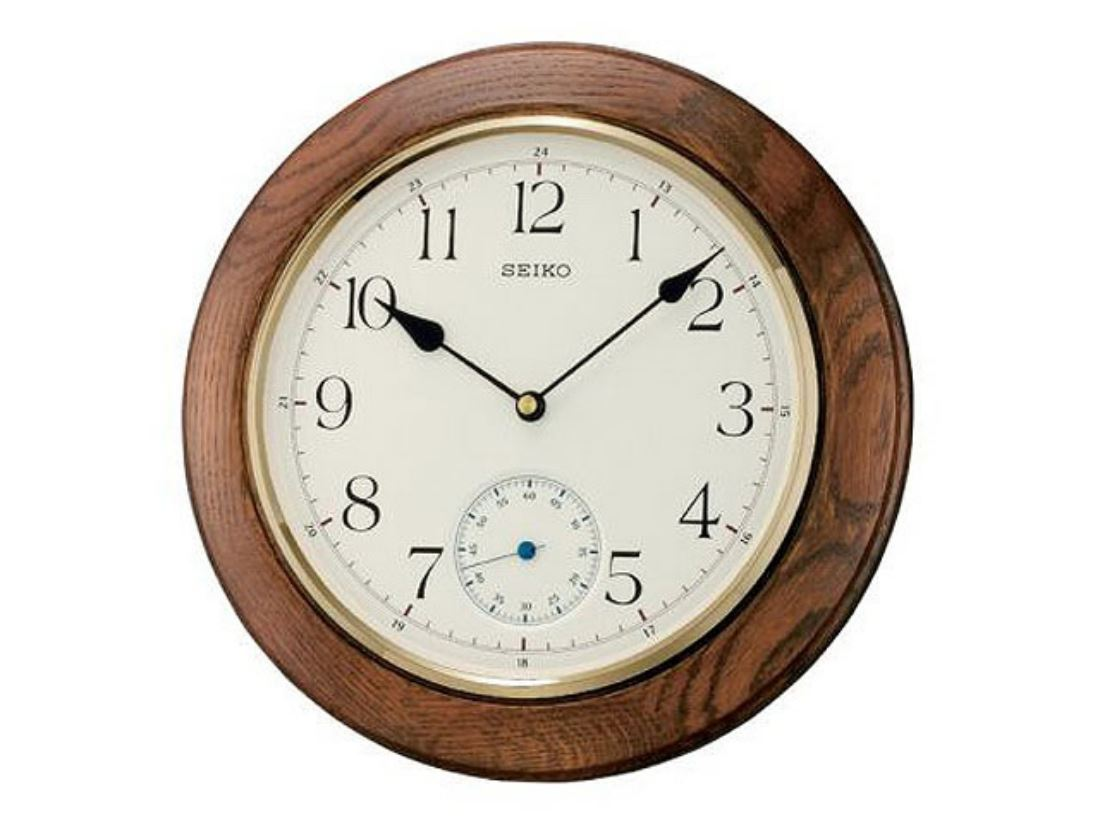 Seiko oak sweep hand dark oak sweep hand wall clock quartz for Seiko quartz wall clock