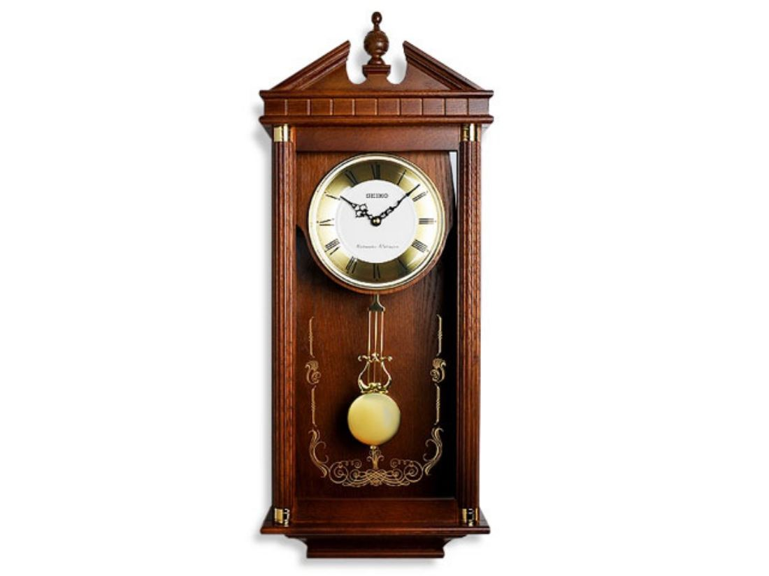 Seiko Chiming Pendulum Mid Oak Coloured Wooden Cased Wall