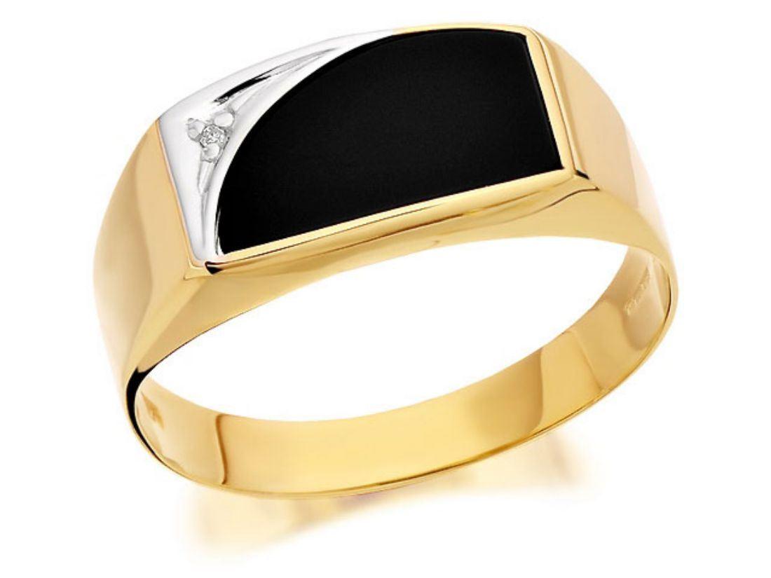 Lemans Onyx Yellow Gold Ring