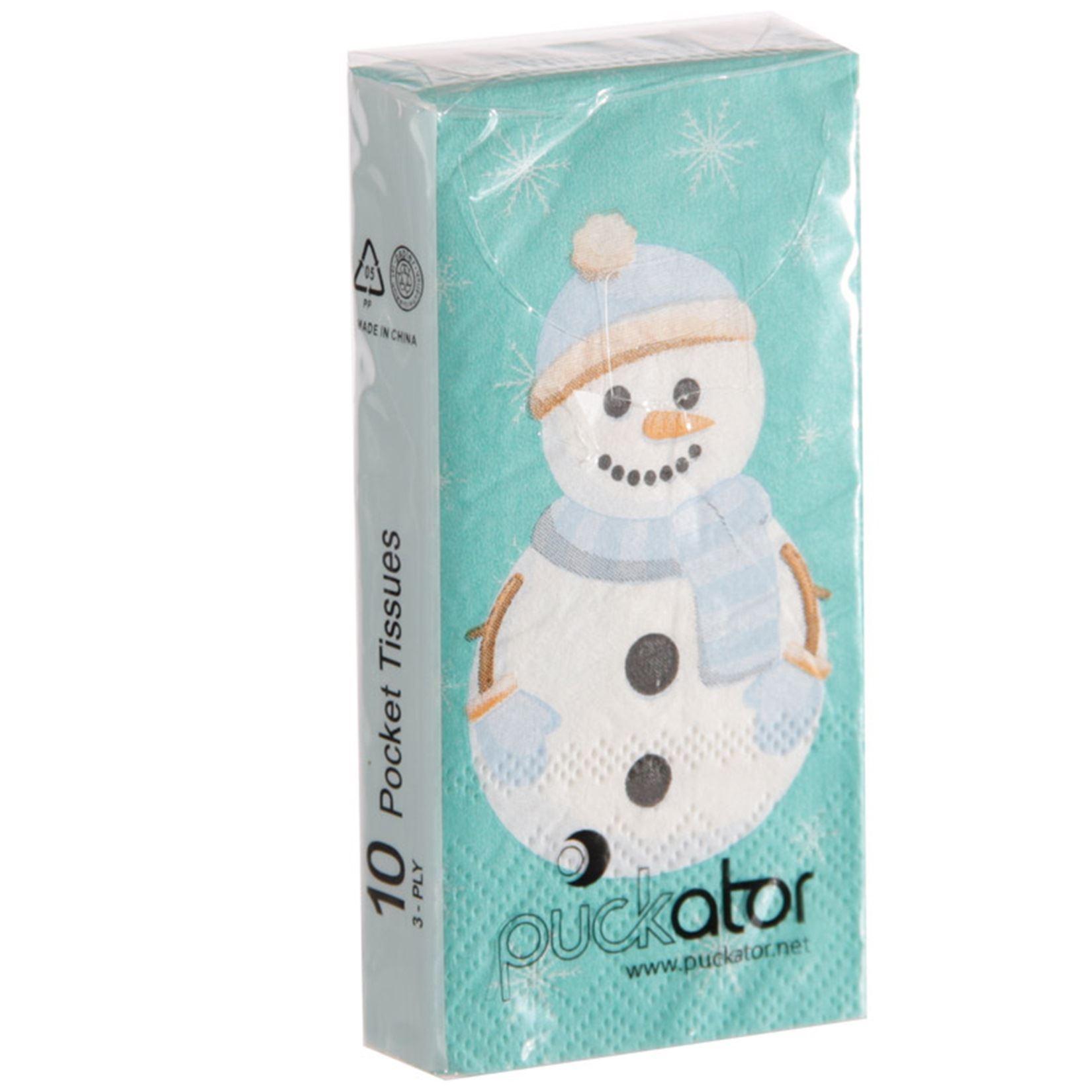 10 paper pocket 3 ply tissue snowman snowflake handbag