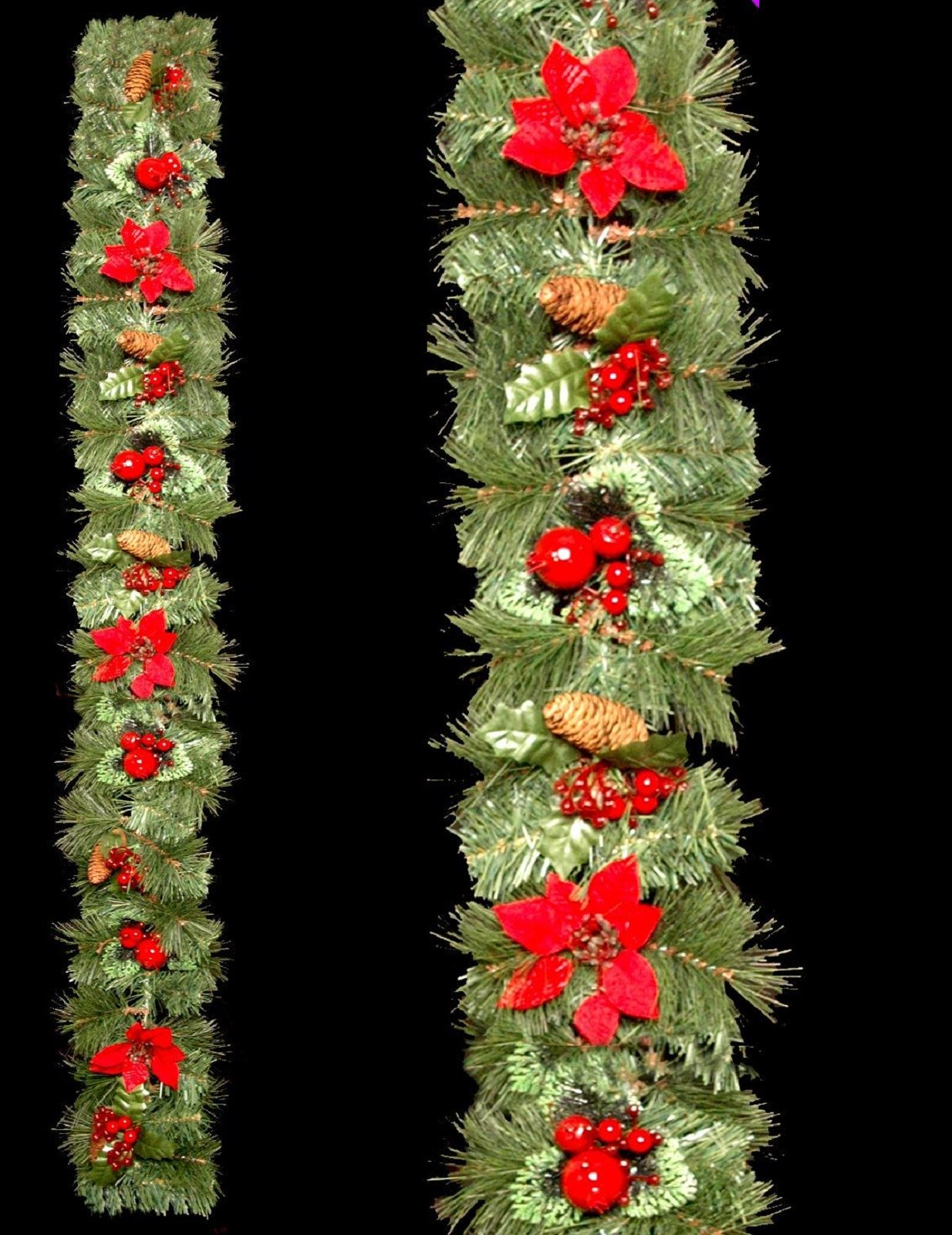 Ft beautiful thick green tinsel garland with red