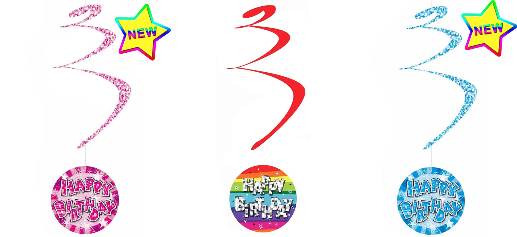 6 Happy Birthday Hanging Spiral Swirl Party Decorations