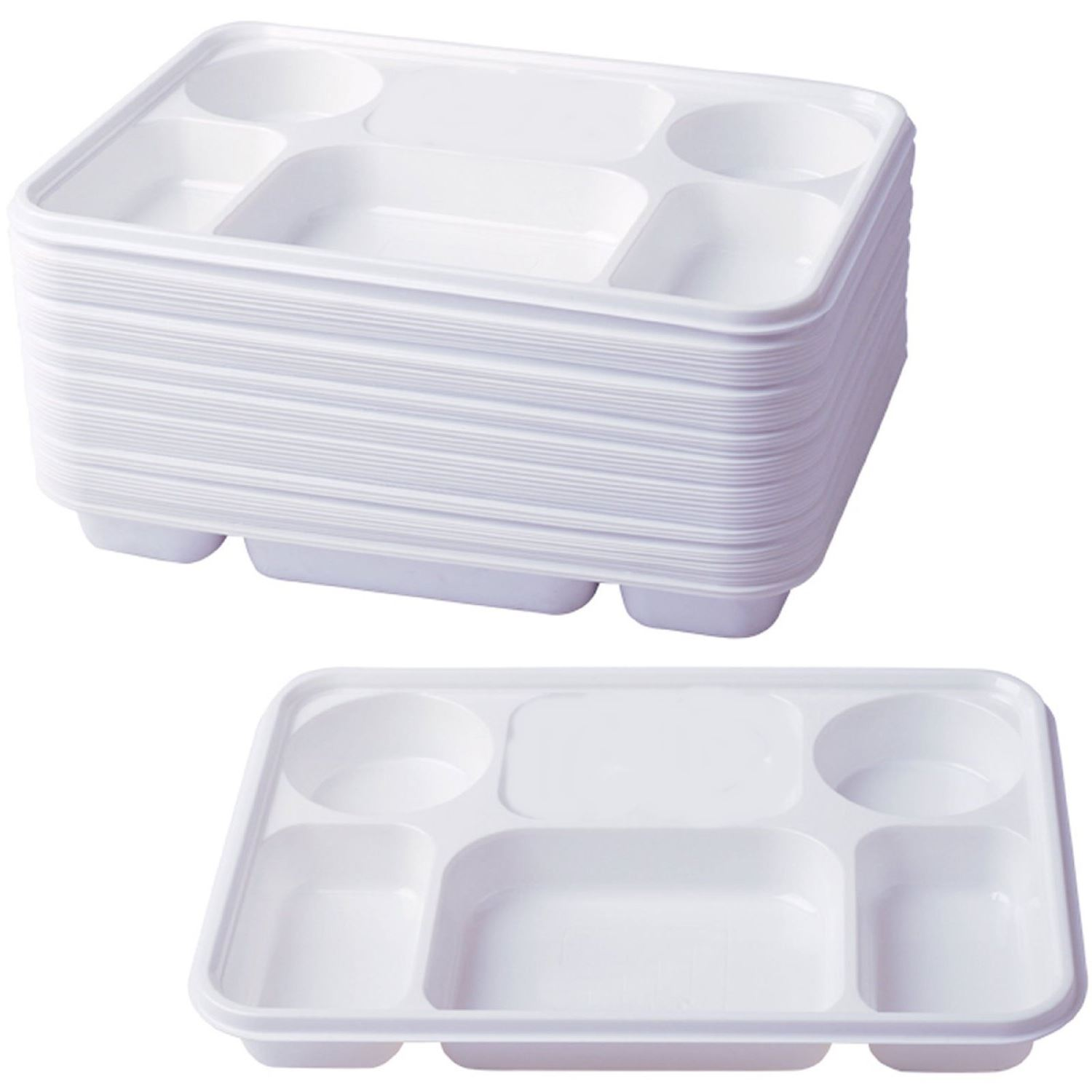 Compartment Plastic Dinner Plates 50 Pcs Party Home Food Disposable Section T
