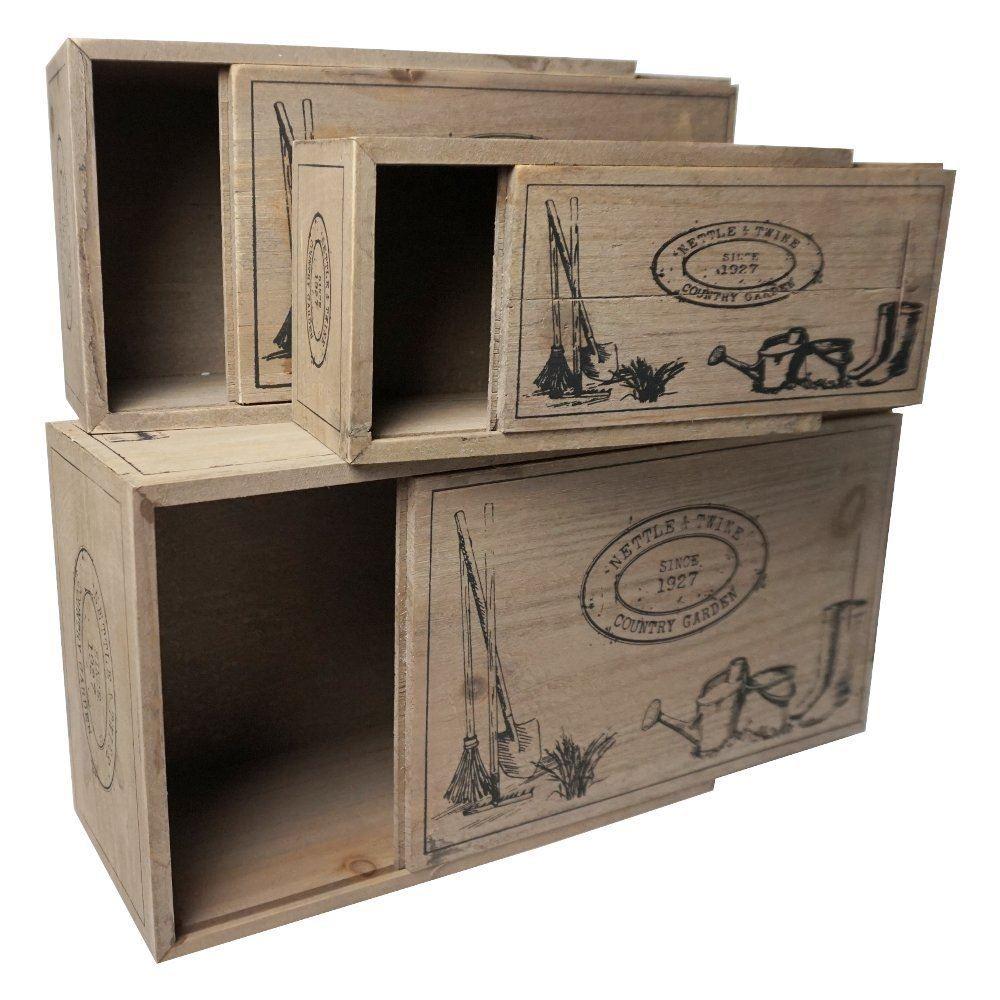 3 rustic vintage wooden storage display boxes lids home. Black Bedroom Furniture Sets. Home Design Ideas