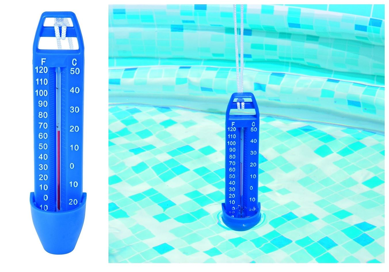 Pool thermometer swimming spa hot tub scoop water pond temperature blue guage ebay for What temperature should a swimming pool be