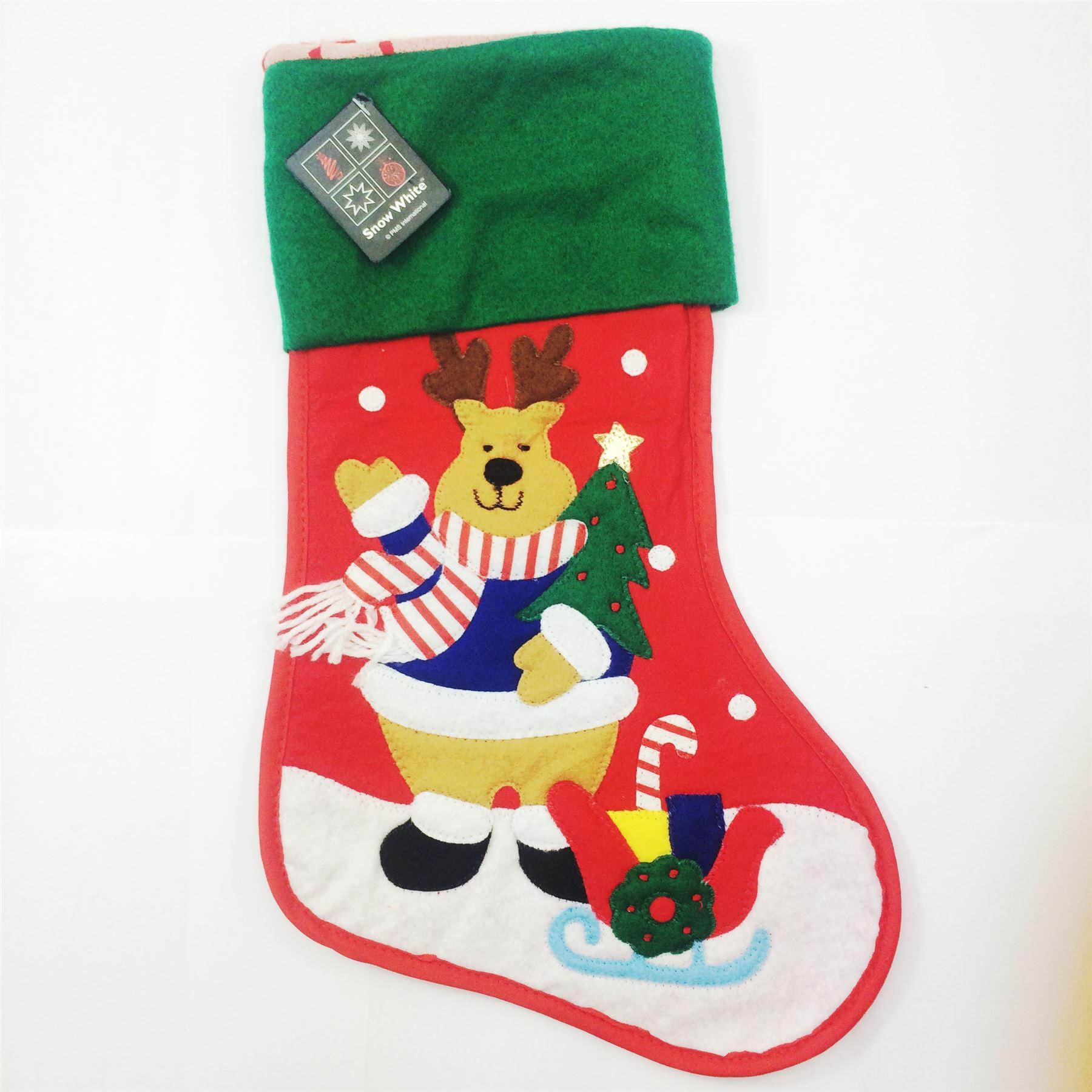 Festive christmas felt stitched stocking cute santa for Felt stocking decorations
