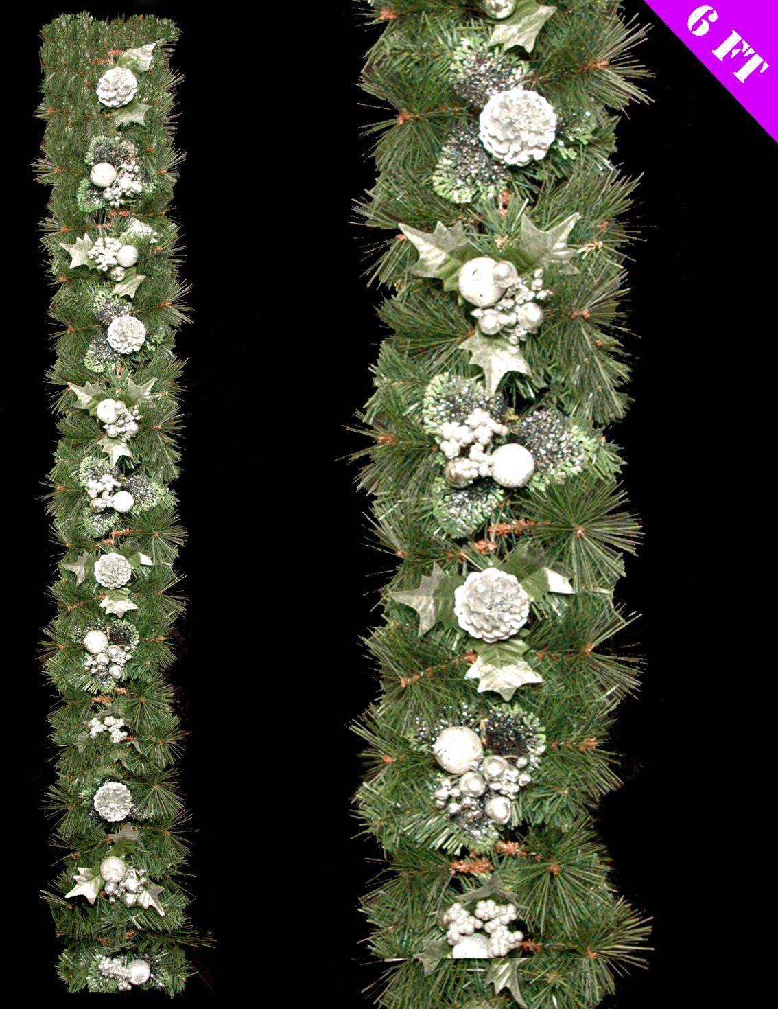 Ft green tinsel garland silver holly berry pine cone