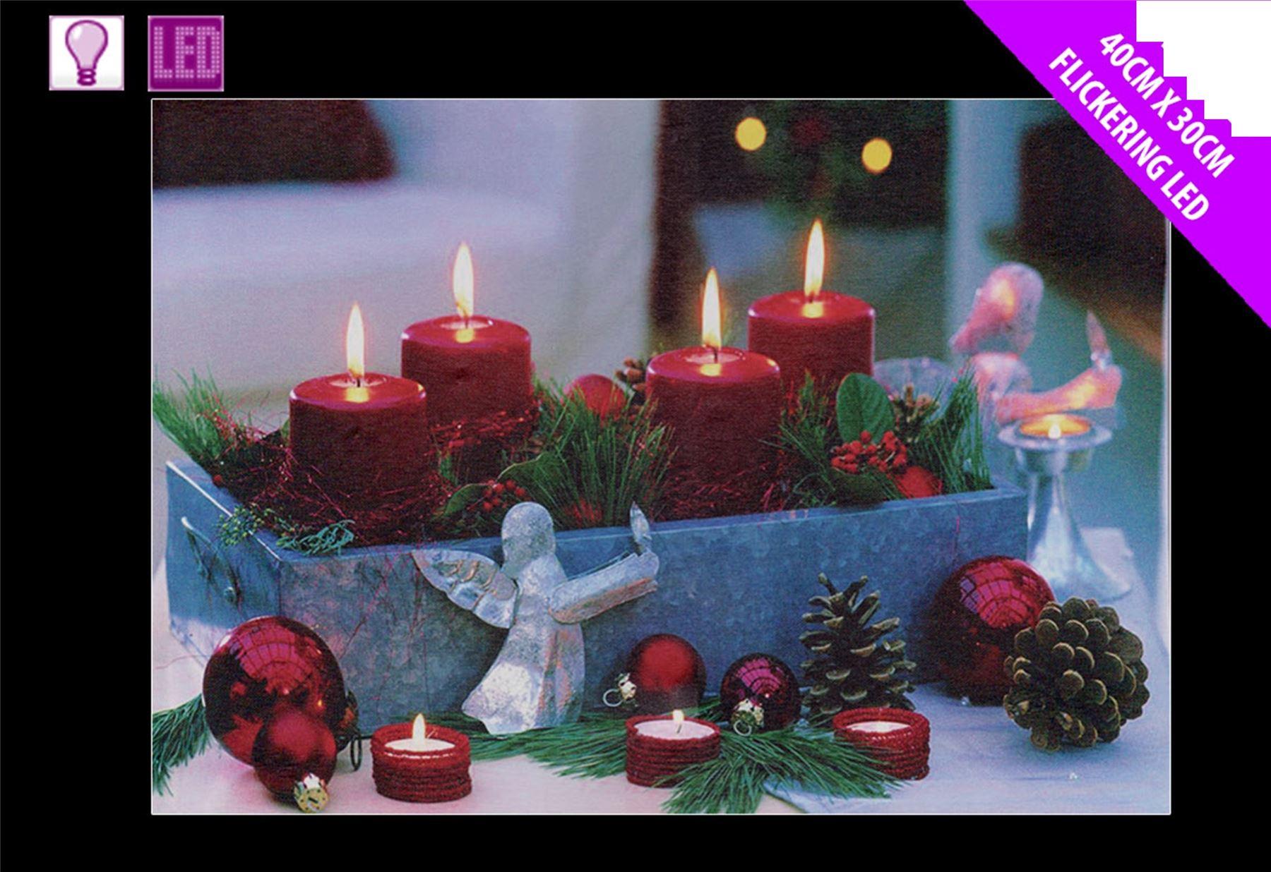 festive light up led canvas picture christmas candle pine. Black Bedroom Furniture Sets. Home Design Ideas