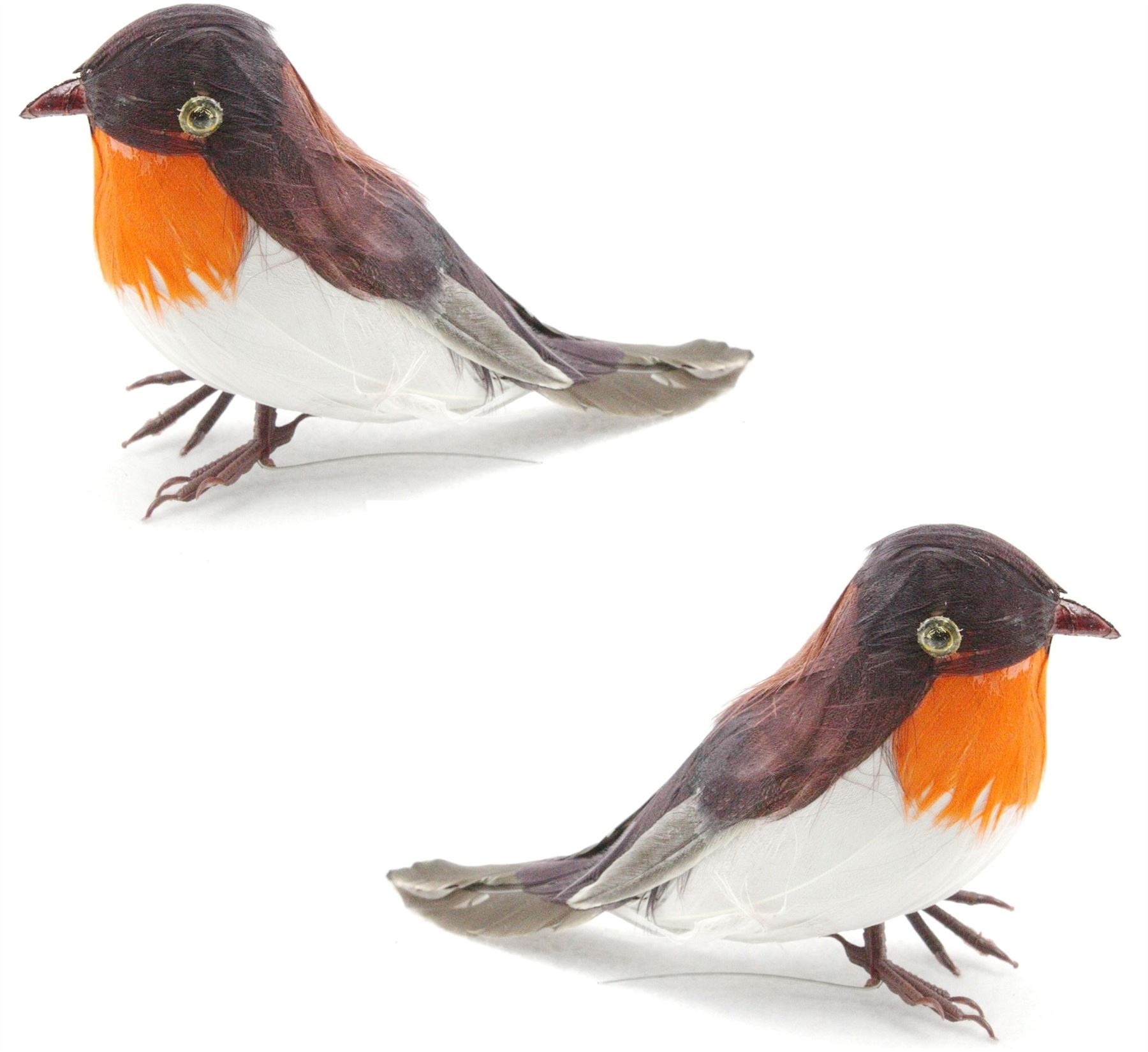 Artificial xmas feather birds robin tree decorations for Fake birds for crafts