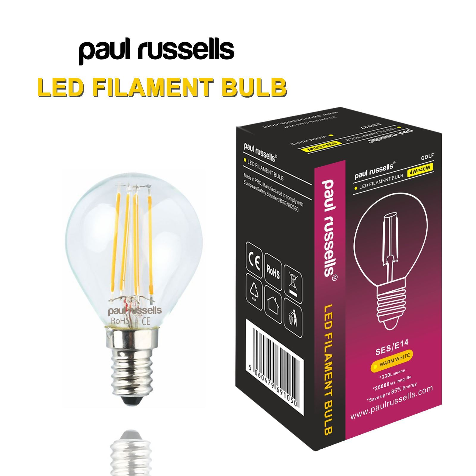 Affinity 4 2w 40w Filament Led Gls Es E27 Clear Light: LED Filament Golf Ball Bulb G45 Clear Glass 25W 40W BC ES