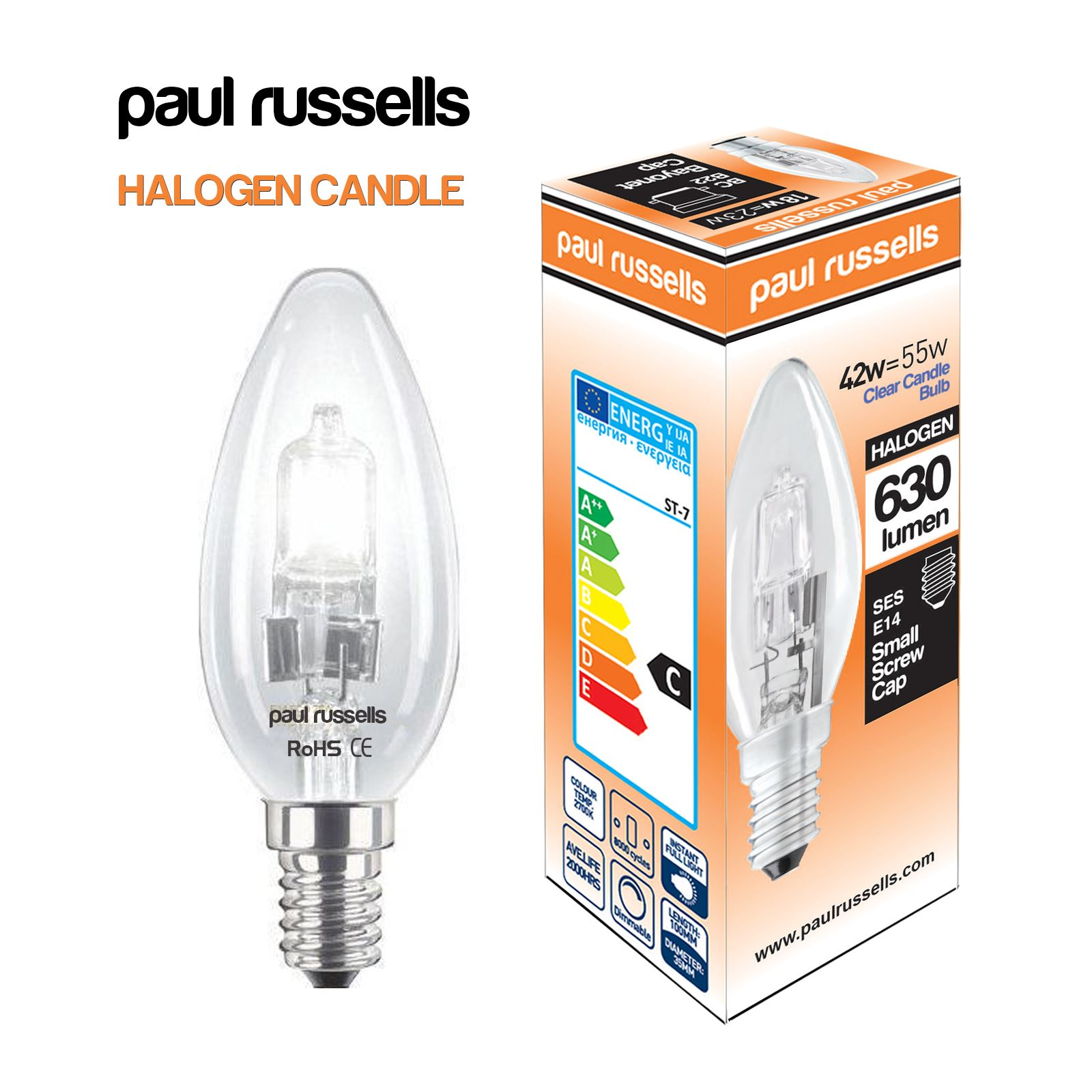 dimmable halogen light bulbs candle gls round 18w 28w 42w. Black Bedroom Furniture Sets. Home Design Ideas