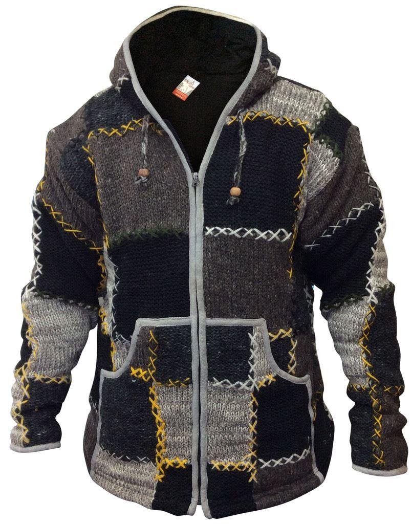mens wool patchwork fleece lined hippy jacket boho superwarm winter zip jumper ebay. Black Bedroom Furniture Sets. Home Design Ideas