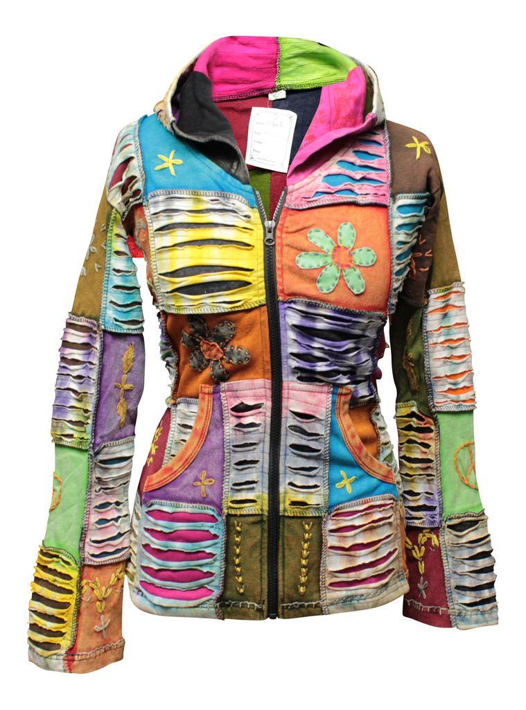 Colorful Flower Slashed Hippie Chunky Cotton Retro Festival Hoodie Boho Jacket