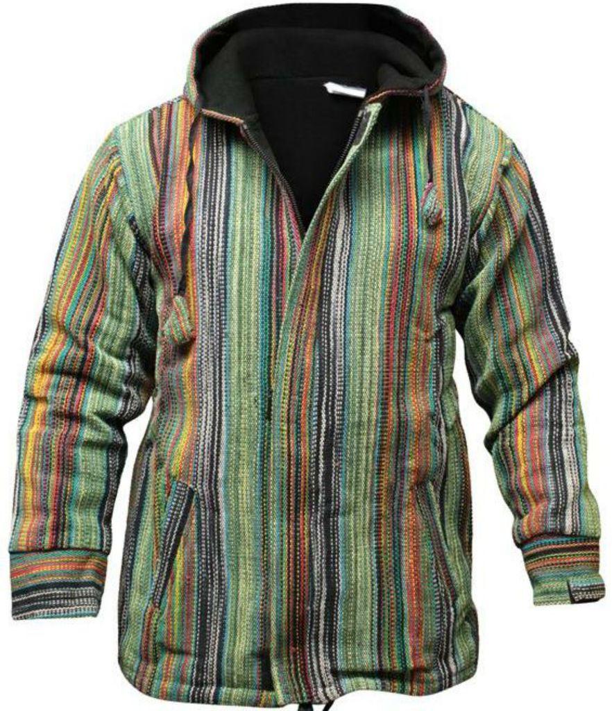 men 39 s multicolor stripe hippie gypsy festival full sleeve hoodie boho jacket ebay. Black Bedroom Furniture Sets. Home Design Ideas