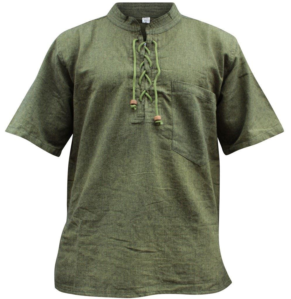 Mens hemp half sleeved hippy grandad shirts collarless for Mens hemp t shirts