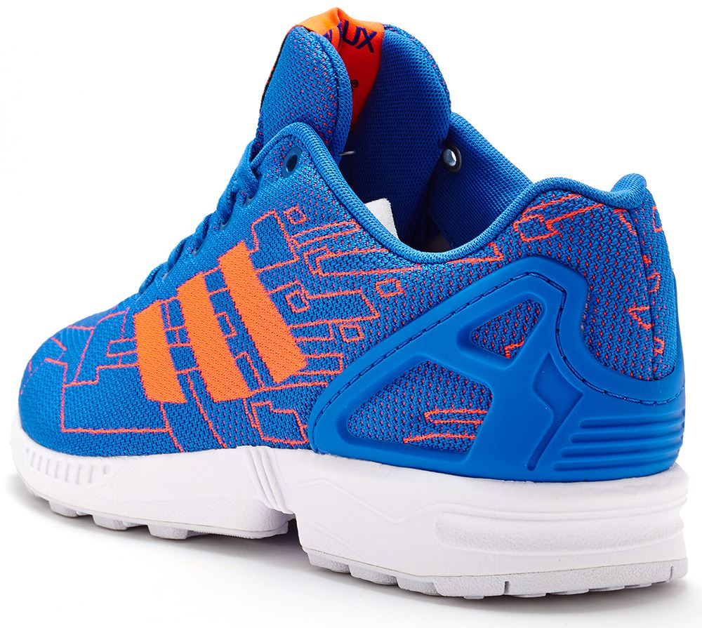 Adidas Originals ZX Flux Trainers In Blue amp Solar Red