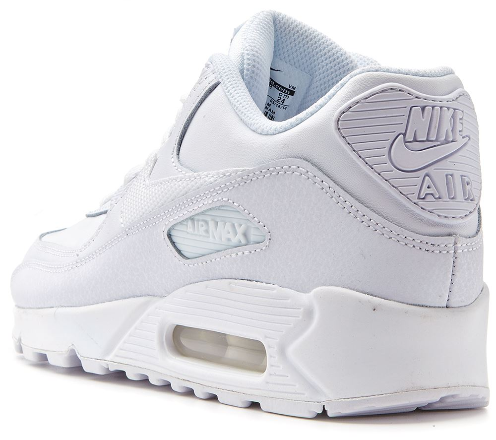 huge selection of 6331d 15b02 ... Nike Air Max 90 GS youth white trainers 307793 167 ...