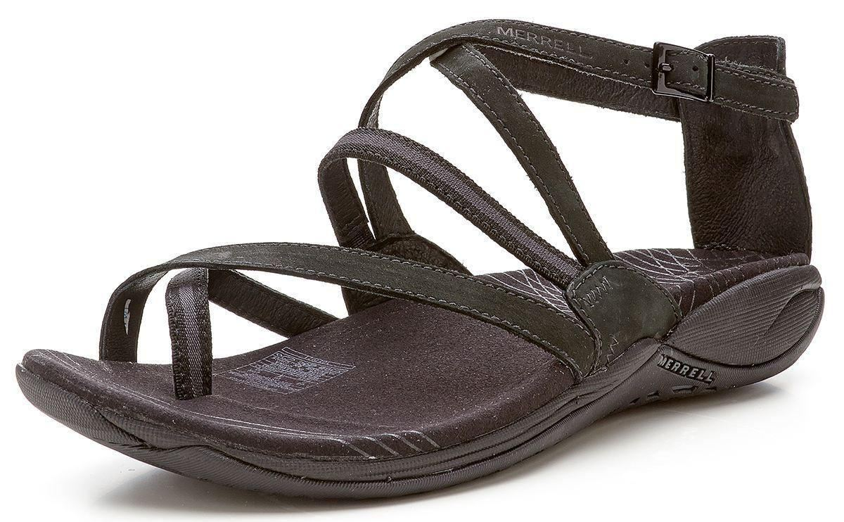 Black merrell sandals - Merrell Lilium Buckle Strap Leather Sandals Black J35632
