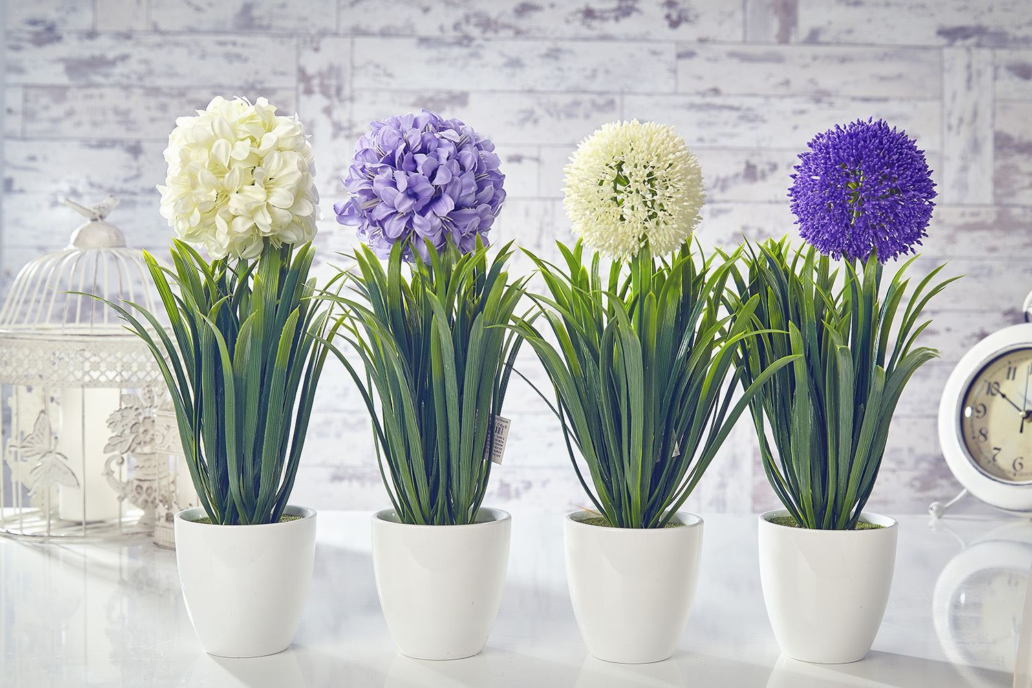 Artificial garlic flowers plants in pot home decor garden for Home decorations with flowers
