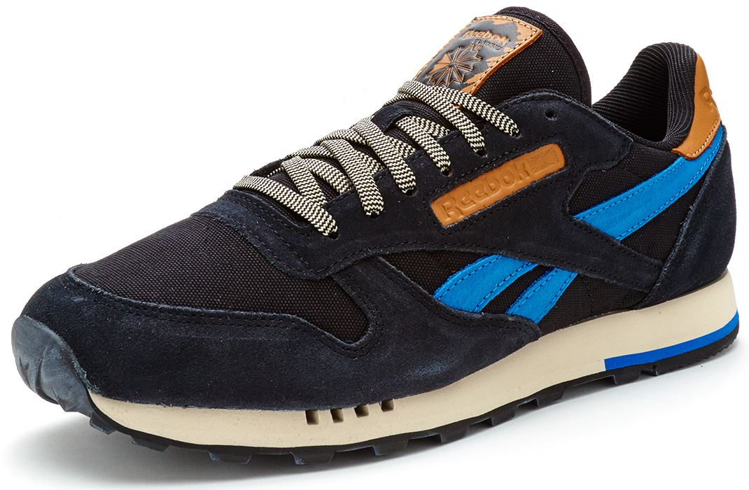 Reebok Classic Leather Utility Suede Retro Trainers in Black & Blue Sport V72847
