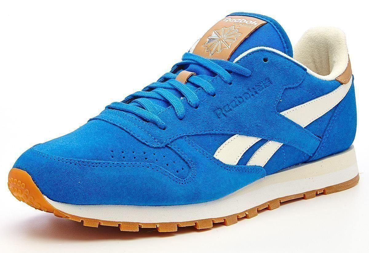 reebok classic leather suede retro trainers blue white. Black Bedroom Furniture Sets. Home Design Ideas
