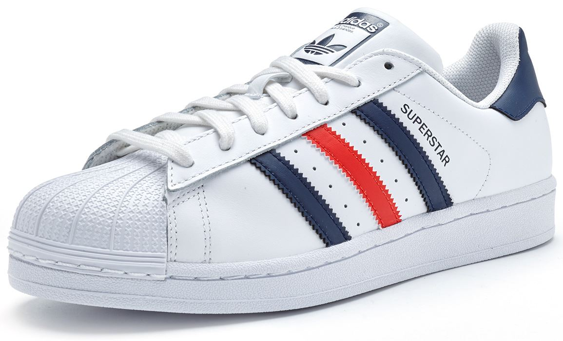 red white and blue adidas superstar