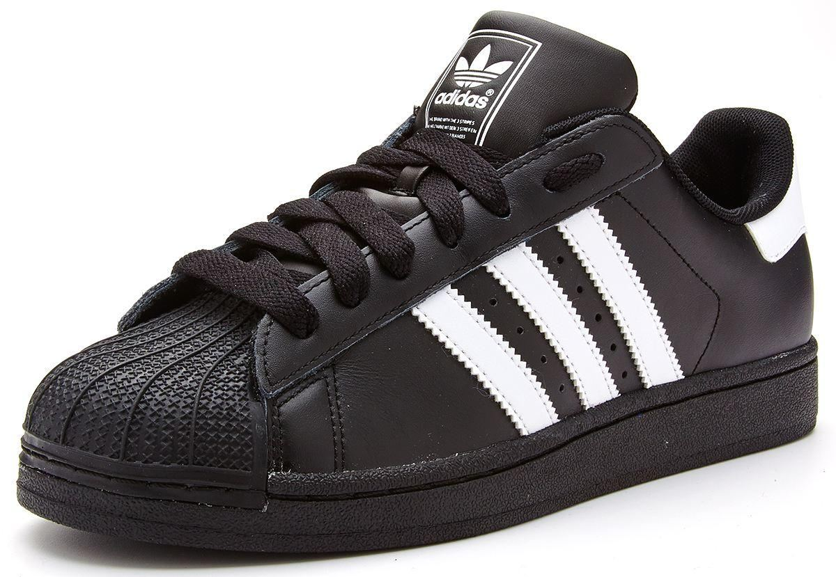 adidas originals superstar 2 ii leather trainers black. Black Bedroom Furniture Sets. Home Design Ideas