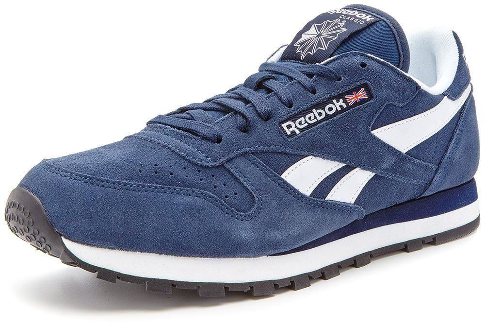 reebok classic leather suede retro trainers navy blue m43014 ebay. Black Bedroom Furniture Sets. Home Design Ideas