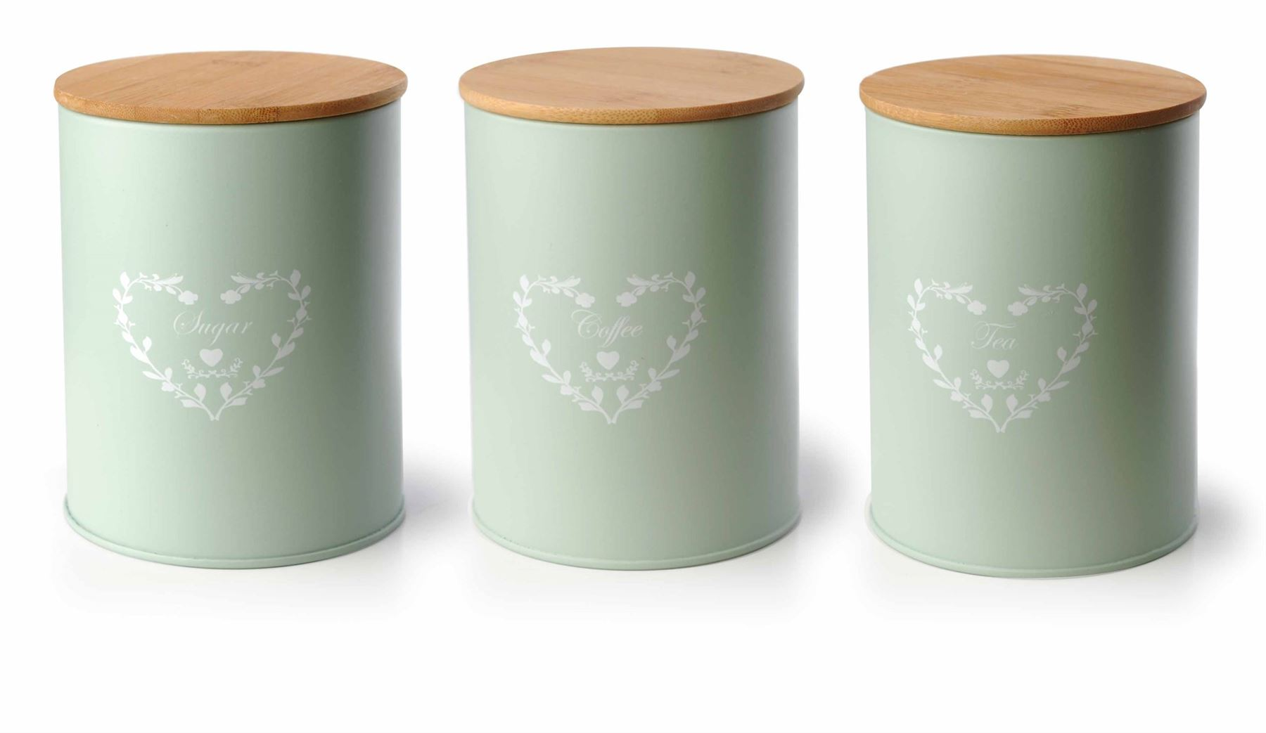 Green Kitchen Canister Set Set Of 3 Vintage Shabby Chic Tea Coffee Sugar Kitchen Storage Jars