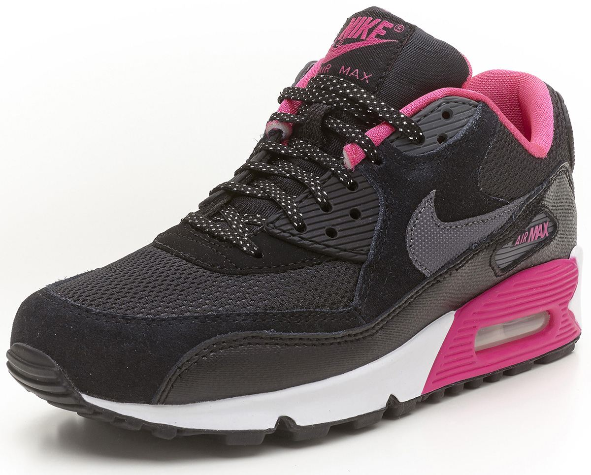 nike air max 90 gs blackamppink trainers 345017 017
