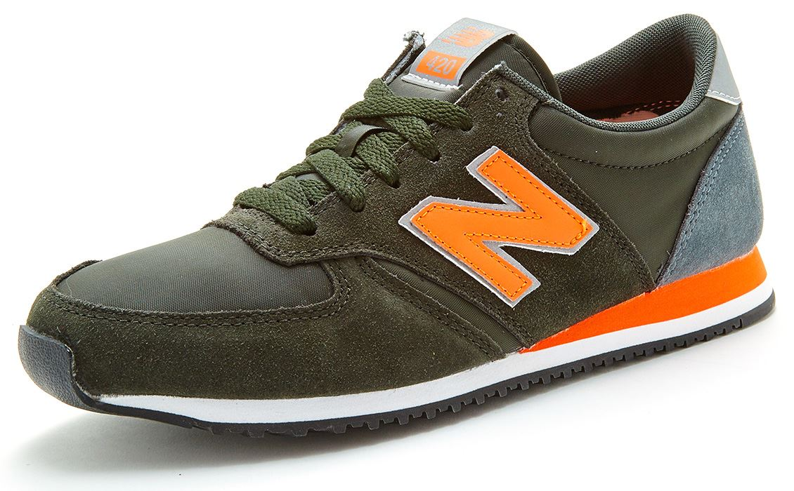 new balance 420 classic grey orange green trainers