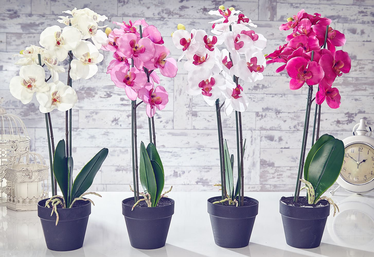 Artificial orchid flowers plants in pot home decor garden for Using plants in home decor