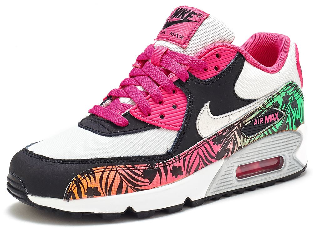 ... nike air max 90 print gs trainers in hot pink silver 704953 001 ebay