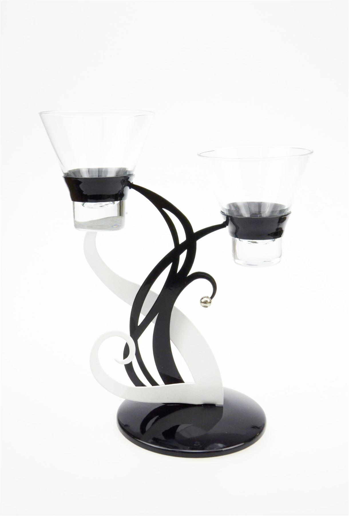 Candle tea light holder candlestick black white silver