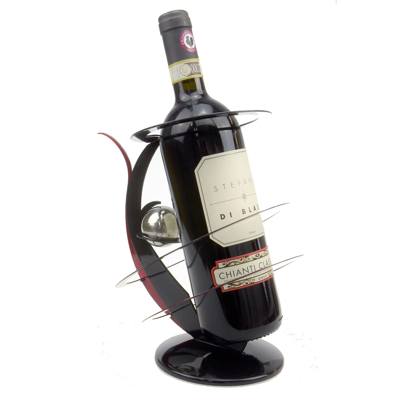 Flower vase wine bottle holder glass metal centrepiece home decor black red ebay - Wire wine bottle carrier ...