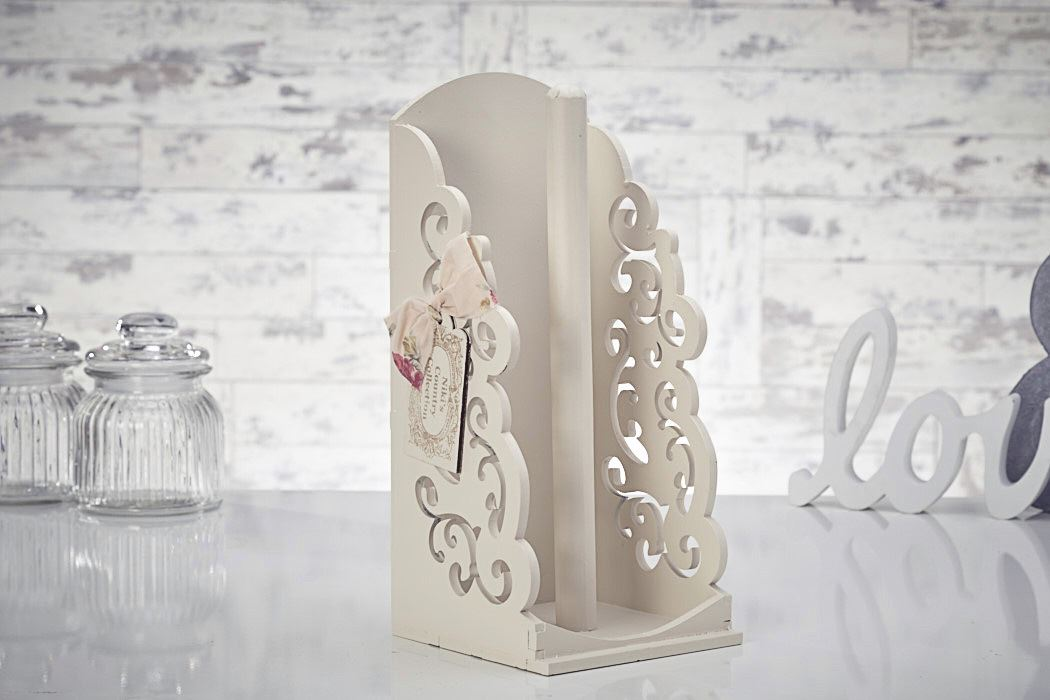 Vintage Shabby Chic Wooden Kitchen Towel Paper Holder Roll