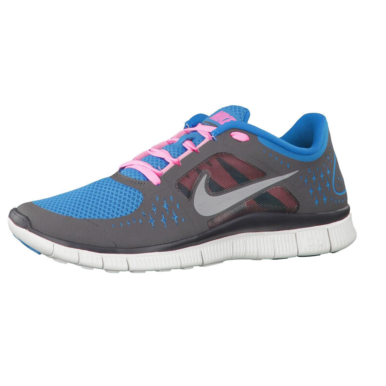 Nike Free Run +3 barefoot grey&blue&pink running trainers ...
