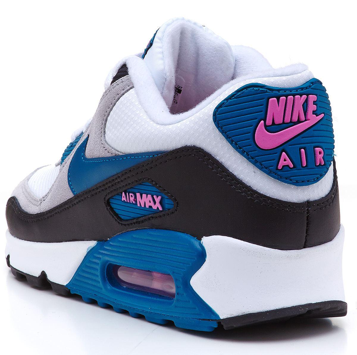 Nike Air Max 90 Essential white \u0026amp; blue \u0026amp; pink trainers 616730 103