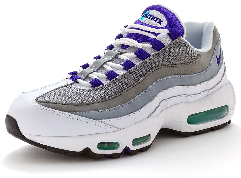 nike air max 95 og trainers in white grape purple grey 554970 151 ebay. Black Bedroom Furniture Sets. Home Design Ideas