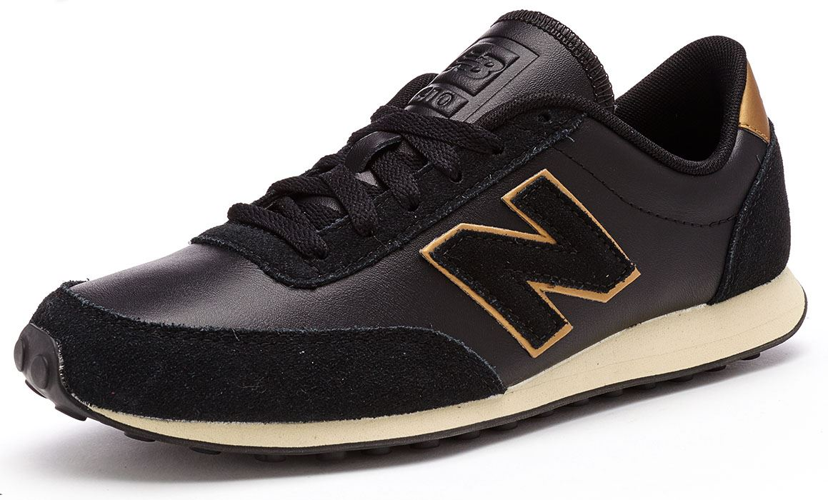 New Balance 410 Classic Leather & Suede Trainers in Black & Gold U410 SKG