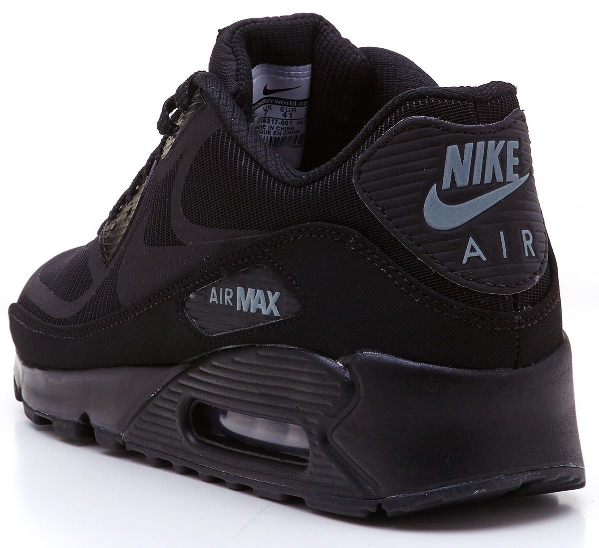 gpety Nike Air Max 90 reflective comfort premium tape black trainers
