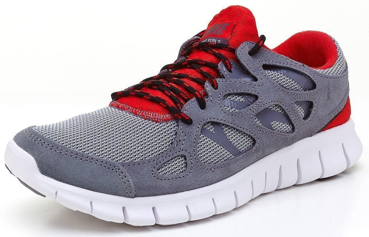 nike free run 2 ext grey red running trainers 537732 006. Black Bedroom Furniture Sets. Home Design Ideas