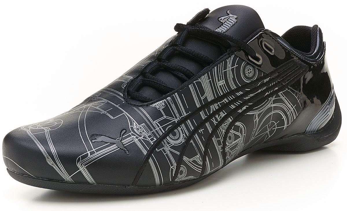 puma future cat m2 engine black silver leather trainers. Black Bedroom Furniture Sets. Home Design Ideas